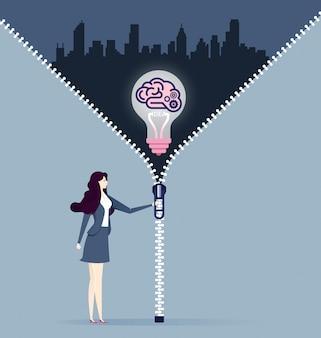 Businesswomen discover best ideas. concept business vector