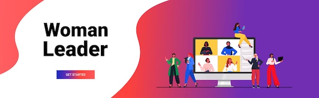 Businesswomen having online conference meeting mix race business women discussing during video call with colleagues on monitor screen horizontal portrait vector illustration