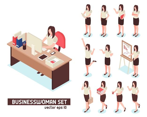 Businesswomen isometric set