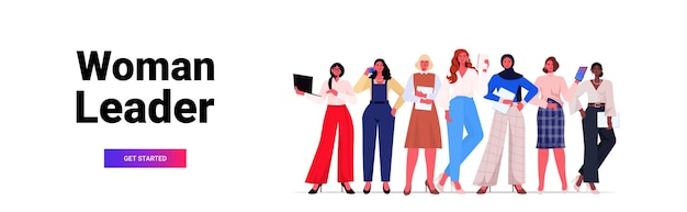 Businesswomen leaders in formal wear standing together successful business women team leadership concept female office workers using digital gadgets horizontal copy space full length vector illustrati