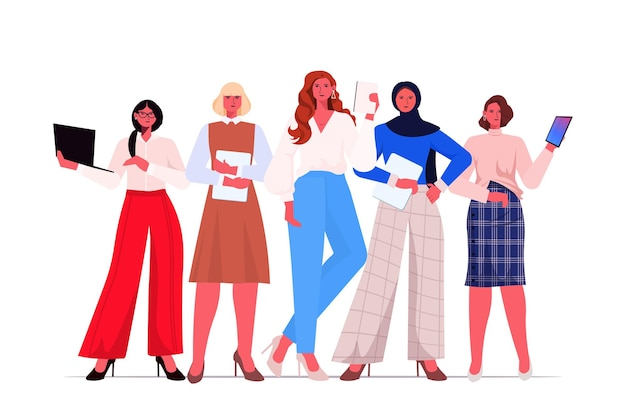 Businesswomen leaders in formal wear standing together successful business women team leadership concept female office workers using digital gadgets horizontal full length vector illustration