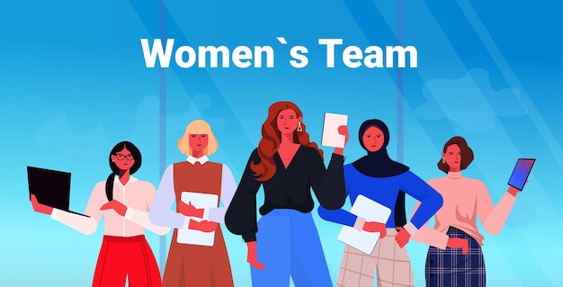 Businesswomen leaders in formal wear standing together successful business women team leadership concept female office workers using digital gadgets horizontal portrait vector illustration