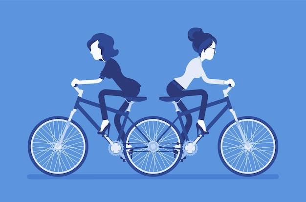 私を押すビジネスウーマンはあなたにタンデム自転車を引っ張ります。意見の相違がある女性の野心的なマネージャーは、さまざまな方法で一緒に働くことができず、非生産的です。ベクトルイラスト、顔のない文字