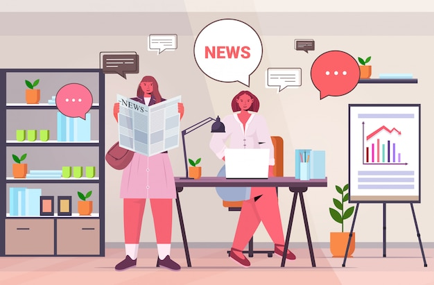 Businesswomen reading newspaper discussing daily news during meeting in office chat bubble communication concept horizontal full length illustration