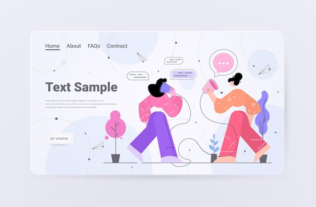 Businesswomen speaking by deaf phone or can telephone landing page