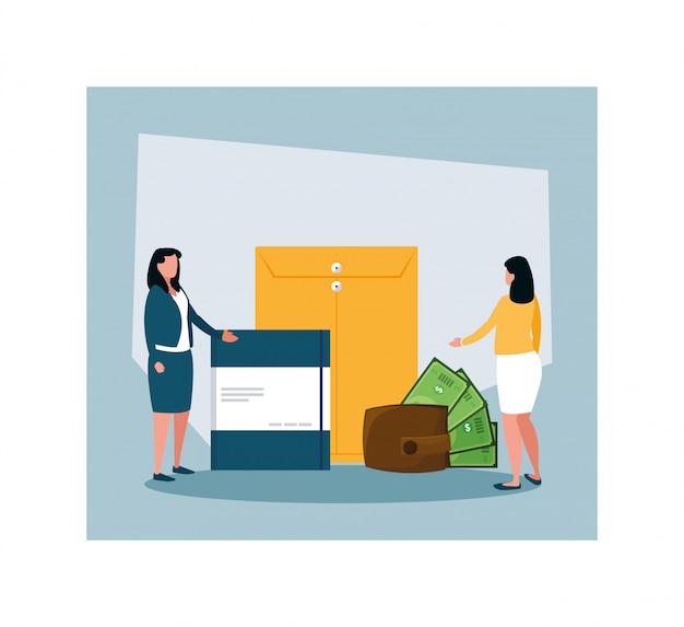 Businesswomen in tax day