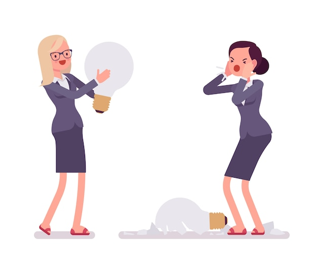 Businesswomen with light bulbs, one is broken