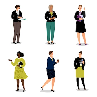 Businesswomen with phones and papers.  office women walk and communicate -  illustration