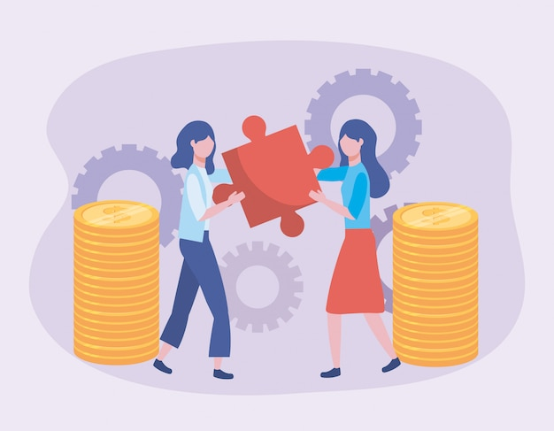 Businesswomen with puzzle and coins with gears technology