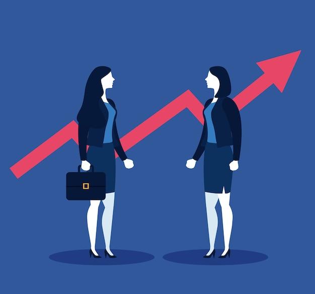 경제인 가방 및 증가 화살표 블루