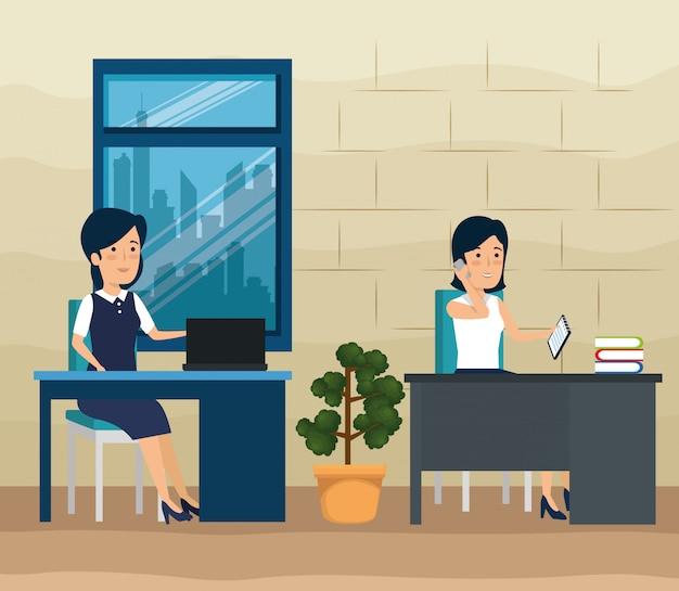 Businesswomen working at the office