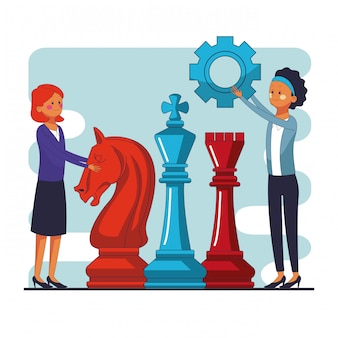 Businesswomens with chess pieces and gears vector illustration graphic design