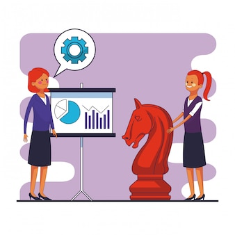 Businesswomens with statistics on whiteboard and chess piece vector illustration graphic design