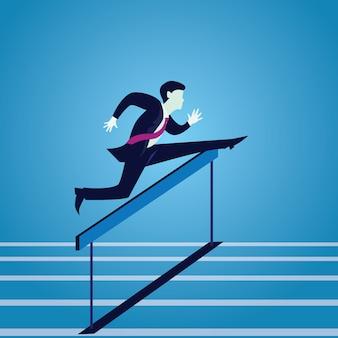 Busnissman jump over obstacles hurdles