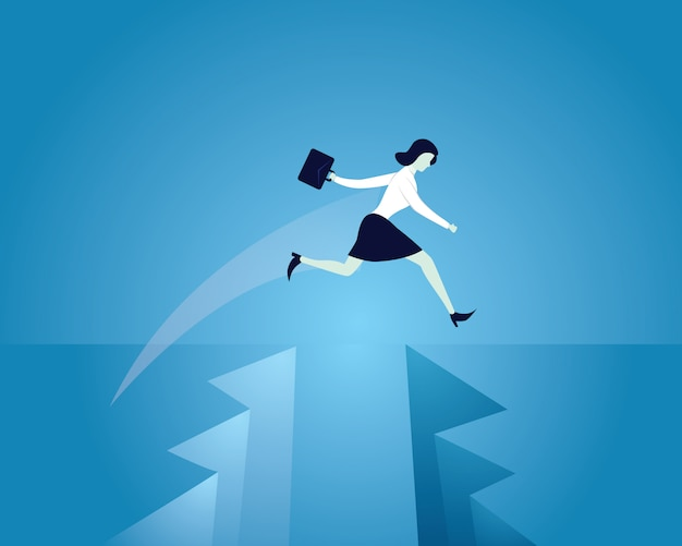 Busnisswomanジャンプ障害を克服するギャップを飛び越える