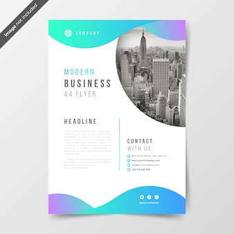 Bussines flyer with gradient waves