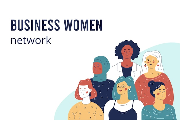 Bussines woman network. multicultural group of various female characters