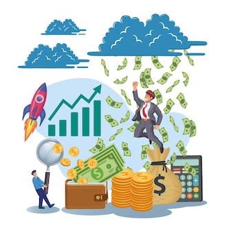 Bussinesman jumping success maximum earnings profit income increase company profit concept vector