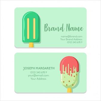 名前カードbussiness 2アイスクリームグリーンフラットカラー