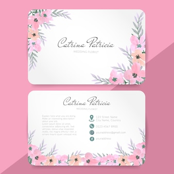 Bussiness card with pink floral watercolor