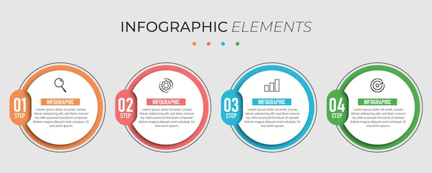 Bussiness infographic circle design presentation template with 4 options