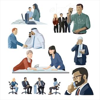 Деловые люди установить обсуждение переговоры обсуждение бизнес партнерство команда повседневная деловая жизнь плоский мультфильм