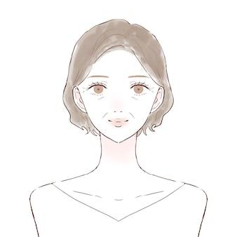 中年女性のバストアップフロント。スキンケア画像。白い背景に。