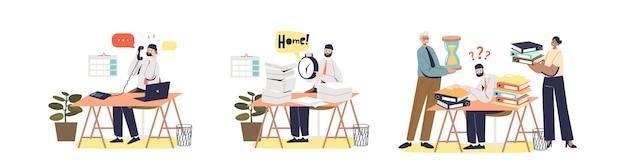 忙しくて働き過ぎのビジネスマンや職場のサラリーマンが設定されています。事務処理や締め切りのあるオフィスの机に座っているworkloaマネージャー。漫画フラットベクトルイラスト