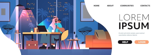Busy arab father freelancer with little son looking in laptop screen freelance fatherhood concept dark night living room interior full length horizontal copy space
