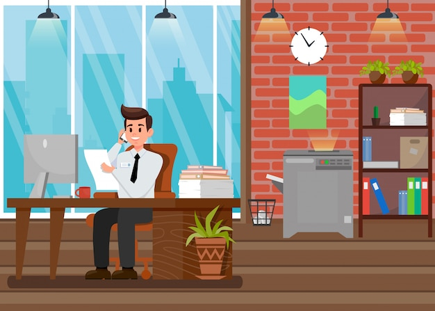 Busy boss at workplace flat vector illustration