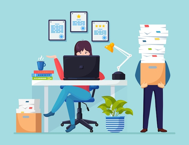 Busy businessman with stack of documents in carton