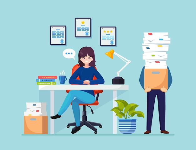 Busy businessman with stack of documents illustration