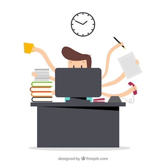Busy businessman Premium Vector
