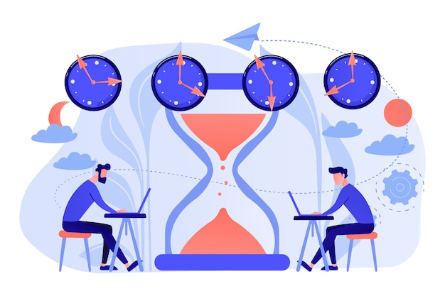 Busy businessmen with laptops near hourglass working in different time zones. time zones, international time, world business time concept illustration