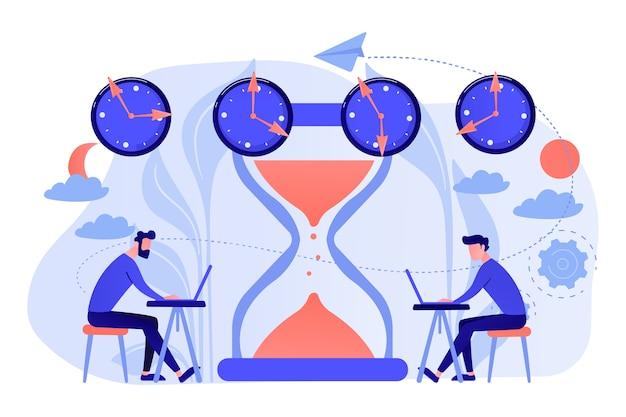 さまざまなタイムゾーンで作業している砂時計の近くにラップトップを持っている忙しいビジネスマン。タイムゾーン、国際時間、世界のビジネス時間の概念図
