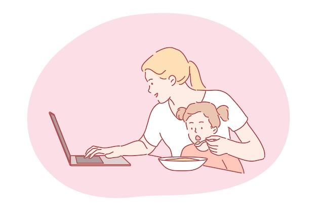 바쁜 사업가 프리랜서 엄마 배고픈 아이 아이 딸을 먹이 거리에 집으로 일하고