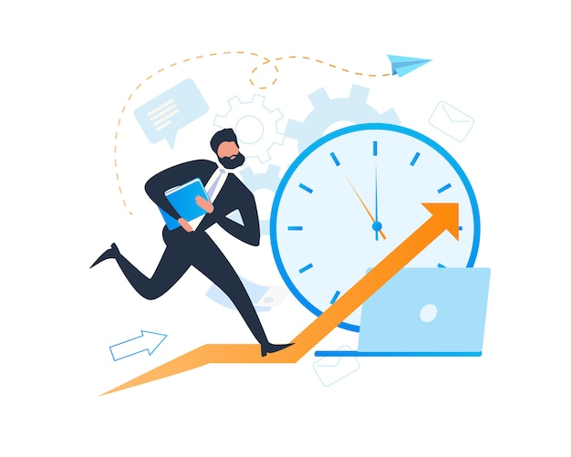 Busy cartoon businessman character deadline clock