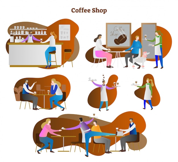 Busy coffee shop concept scenes collection