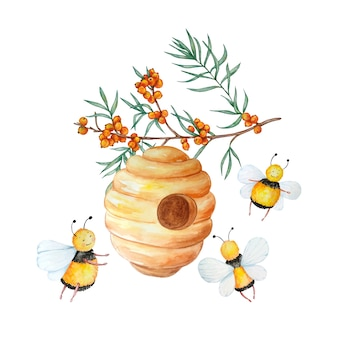 忙しいかわいいミツバチがシーバックソーンのある枝の巣箱の周りを飛んでいます。