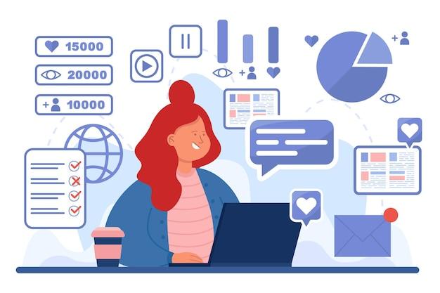 Занят женщина-эксперт smm на рабочем месте