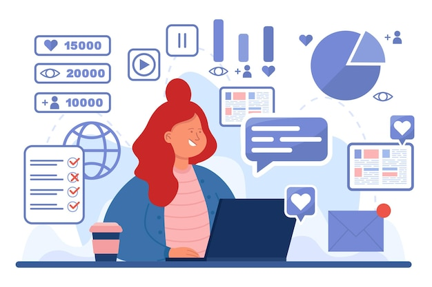 Busy female smm expert at workplace