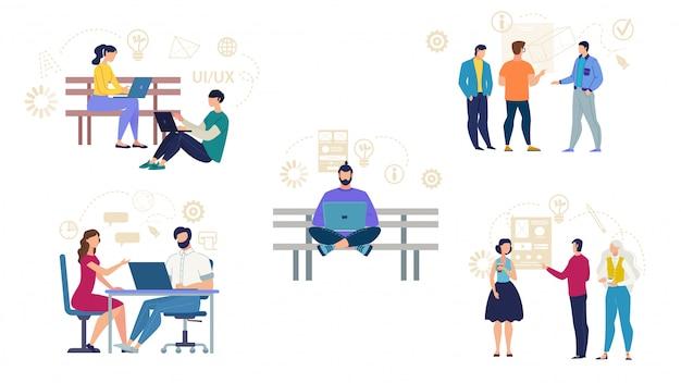 Мультипликационный набор занятых фрилансеров и ит-специалистов