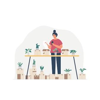 그녀의 정원 안에 걷는 바쁜 주부 여자 만화 캐릭터