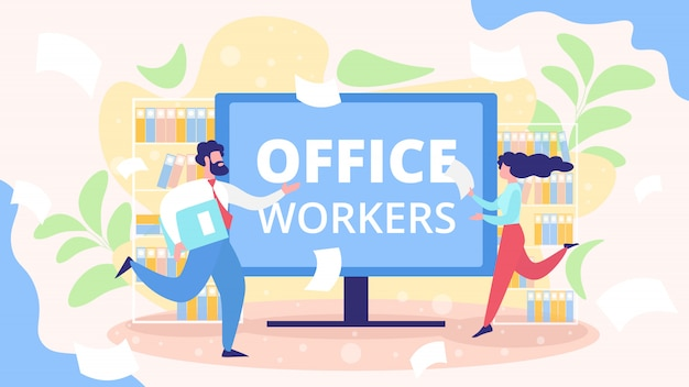 Busy, hurrying office workers flat concept