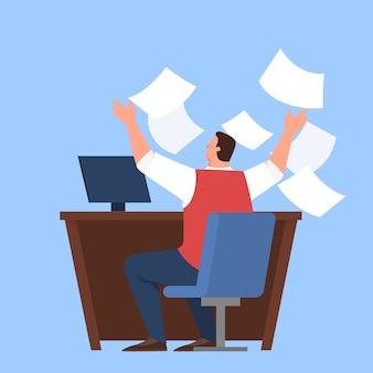 Занятый человек на своем рабочем месте, напряженный и усталый профессиональный работник. бизнесмен выбросить документ. идея крайнего срока и переутомления, беспокойства и страха.