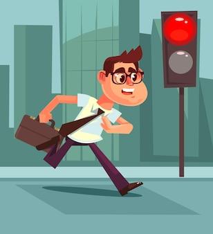 바쁜 남자 보행자 캐릭터가 도로 규칙을 위반