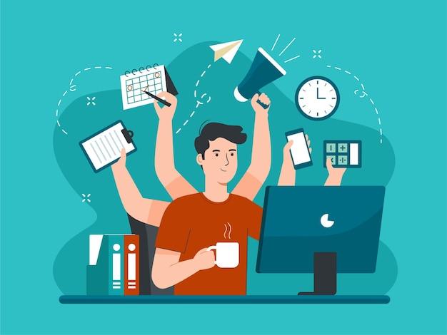 많은 손을 가진 바쁜 남자가 동시에 여러 작업을 수행합니다. 멀티태스킹 개념