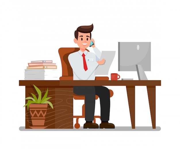 Busy man at workplace flat vector illustration