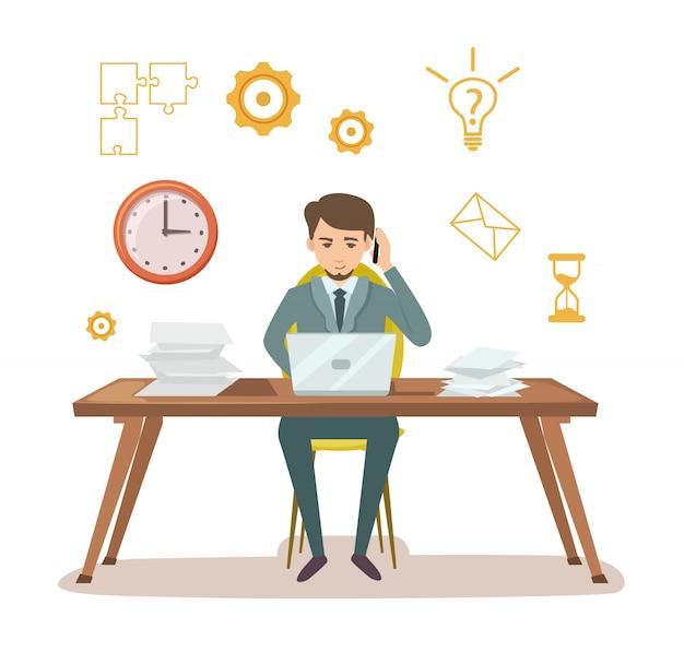 Занятый менеджер по работе с документами