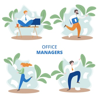 Busy office managers set in flat style